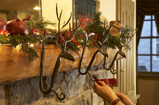 Stocking-Ready Reindeer Mantel- Fireplace Mantel Ideas