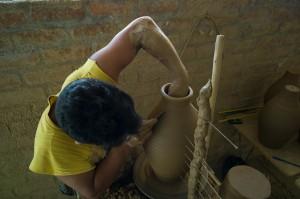 Working the Wheel - chulucanas handmade pottery
