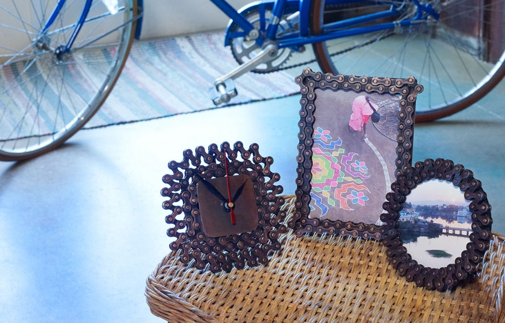 Recycled Bicycle Chain Candleholder and Picture Frames | Handmade Fair Trade