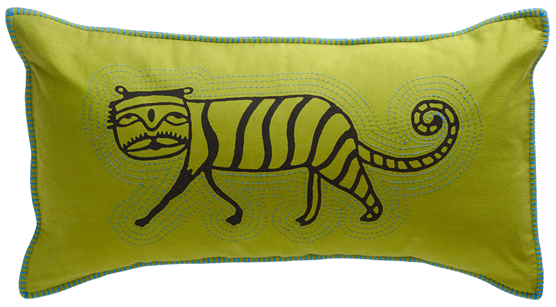 Tangled Vines   Handmade pillow  Black tiger on colorful fabric