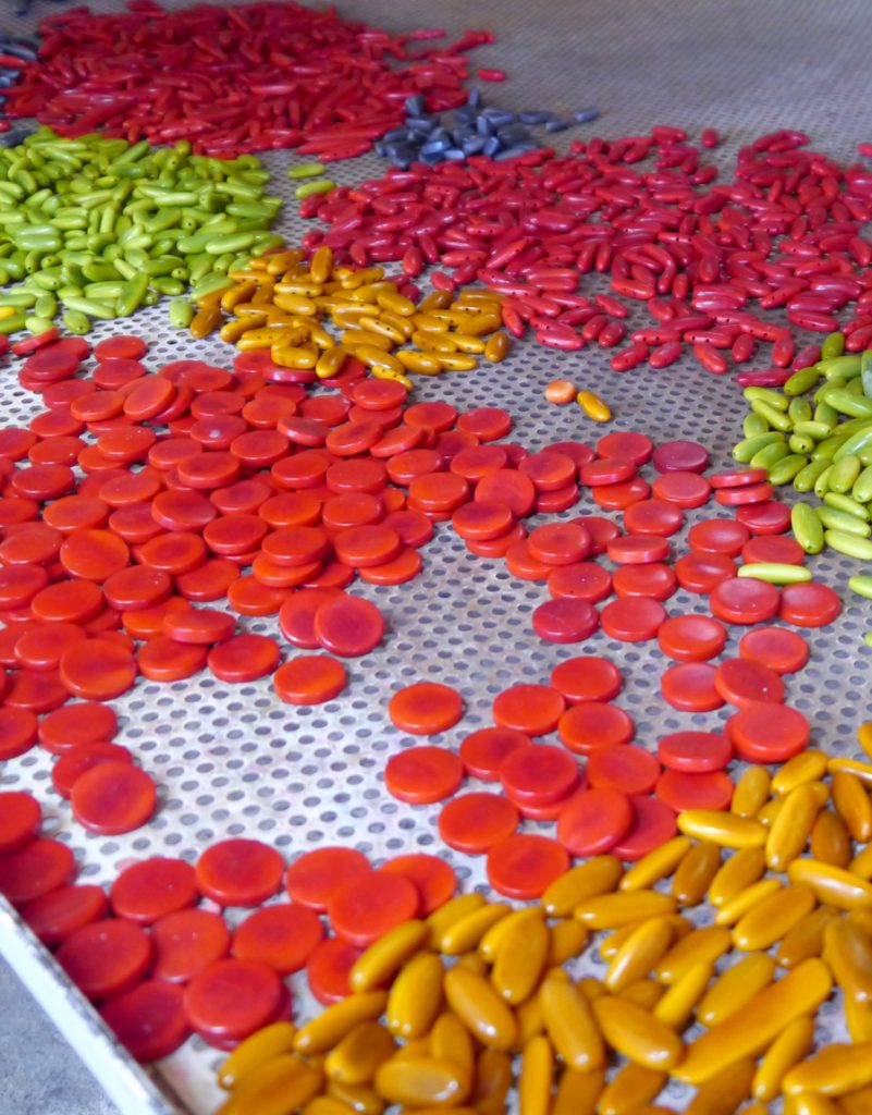 Image shows many pieces of tagua in several bright colors lying on a metal work surface before they are made into eco friendly jewelry.