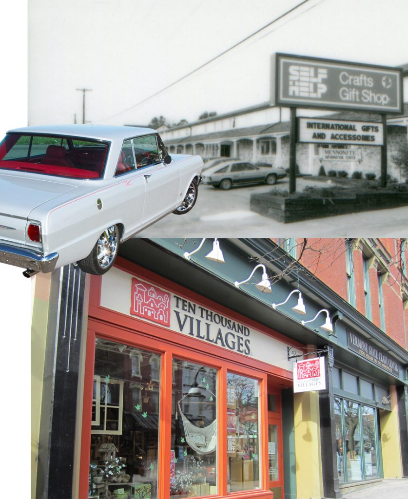 """Image is a collage of an original storefront when it was called SELFHELP Crafts and Gifts Shop, Edna Ruth Byler's Chevy II which served as the first """"storefront,"""" and a Ten Thousand Villages store today."""