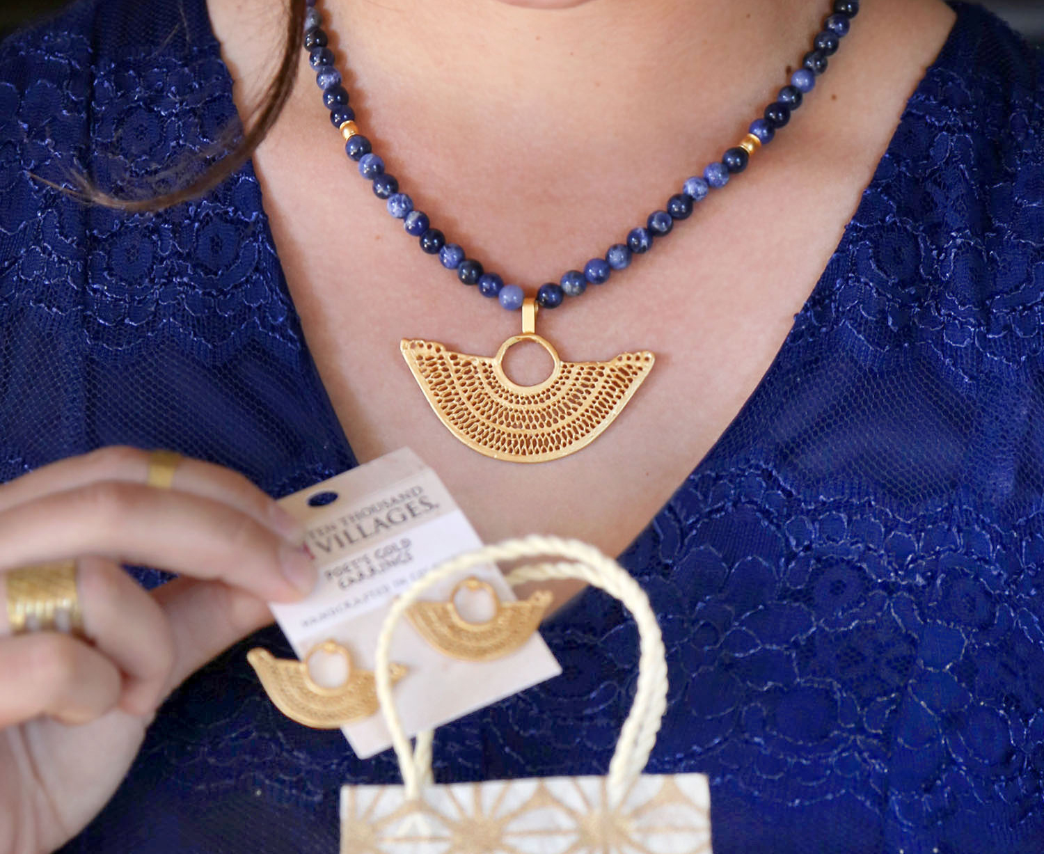 Poet's Gold Necklace. Authentic Fair Trade Product. Ethically sourced. Handcrafted in Colombia. 24K Gold Fill