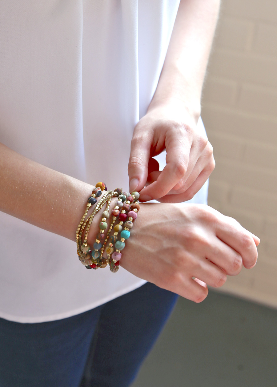 This transformational jewelry handmade from repurposed sari is the easiest style choice you will ever make. | Transformation Jewelry | Fair Trade Fashion | #LiveLifeFair | Ten Thousand Villages