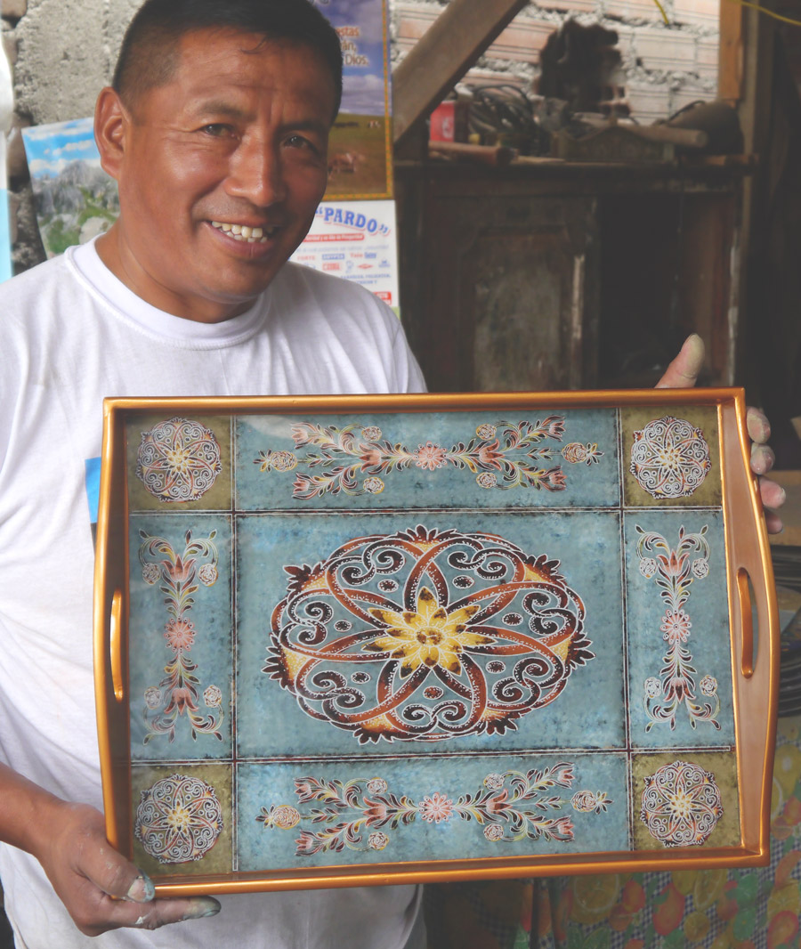A step-by-step guide to the centuries-old art form of reverse painted glass. | Fair Trade Home Decor | Ten Thousand Villages #LiveLifeFair