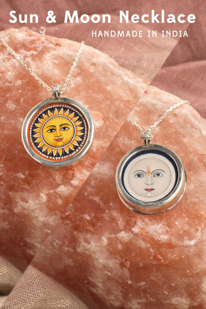 Hand-Painted Sun and Moon Necklace