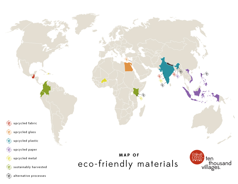 map of eco-friendly materials