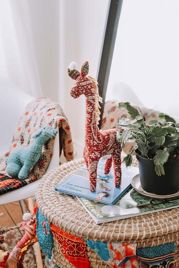 Kantha Stitch Stuffed Giraffe