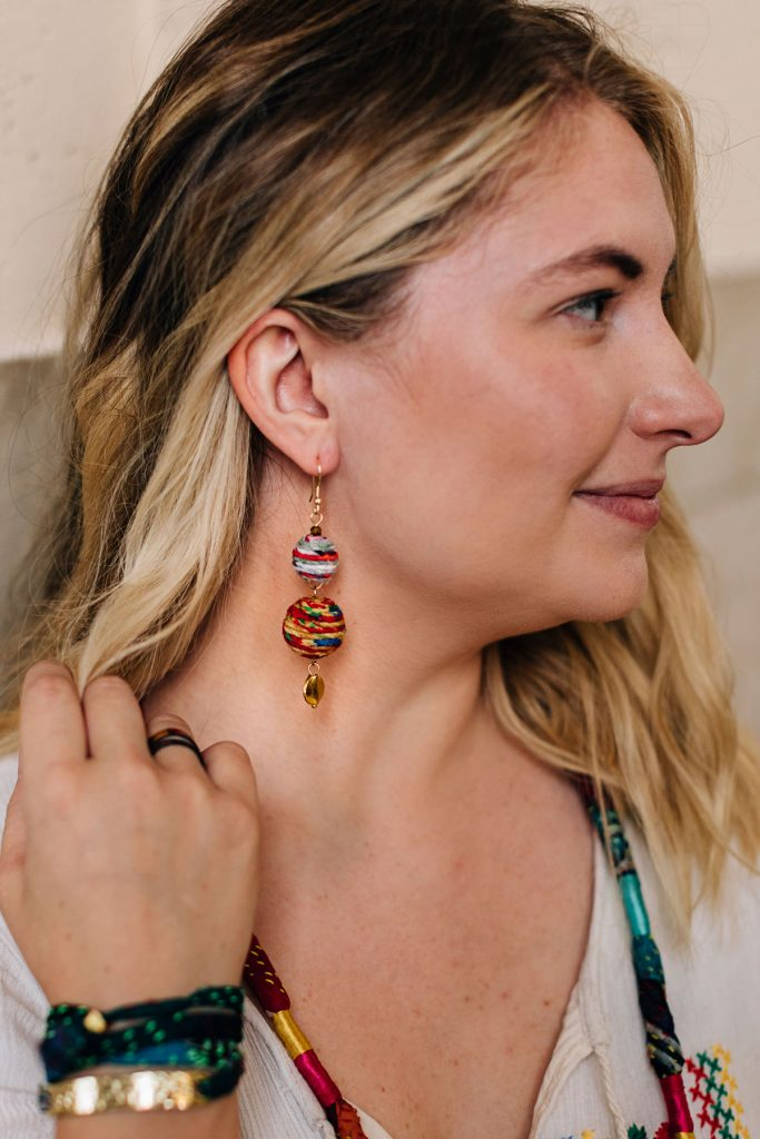 Summer Solstice Collection | Recycled Sari Earrings
