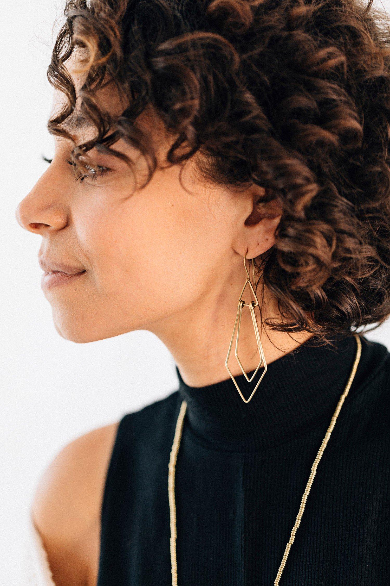 Ethical Earrings   Art Deco Wire Earrings