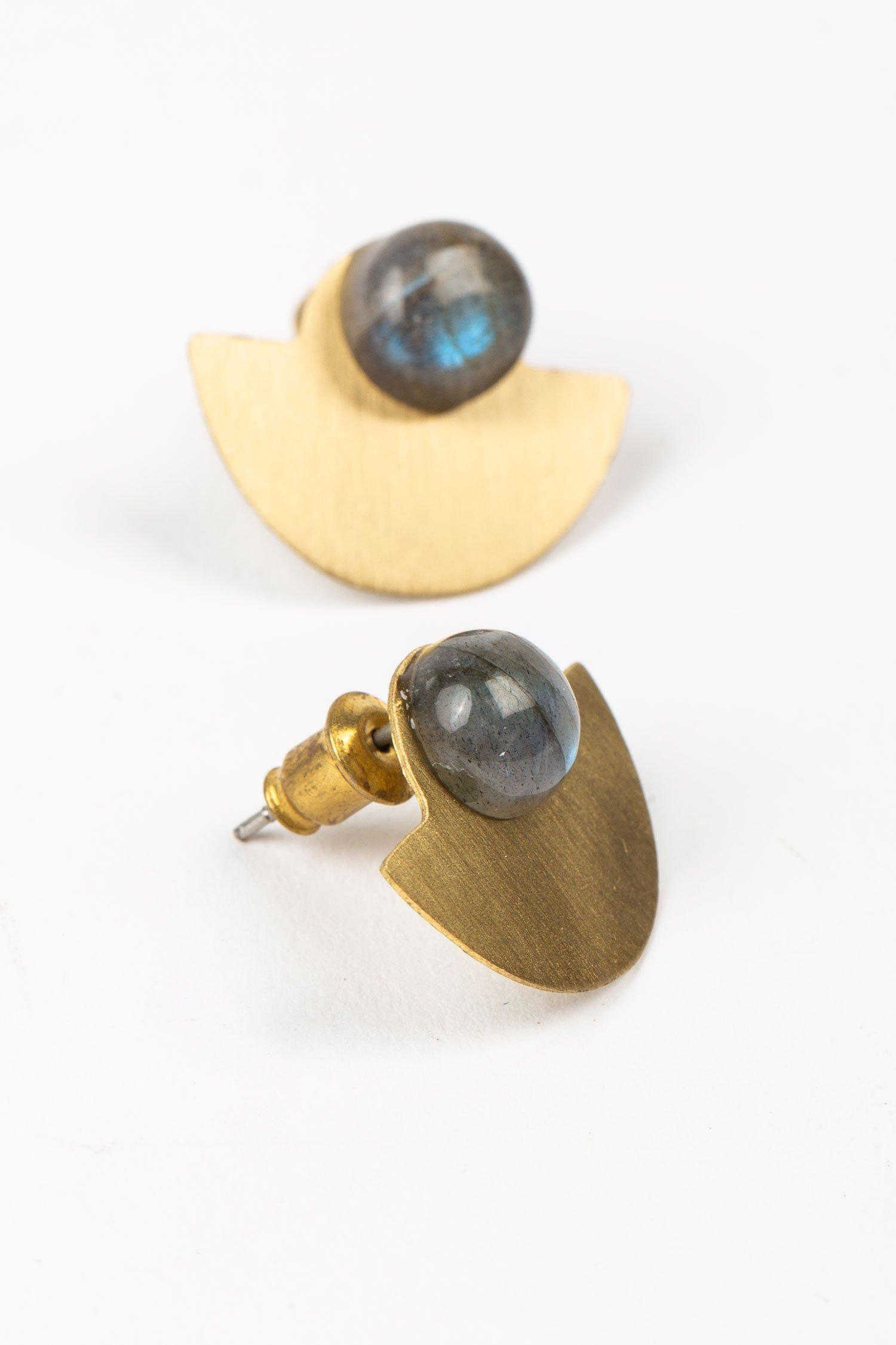 Ethical Earrings | Labradorite Moon Earrings