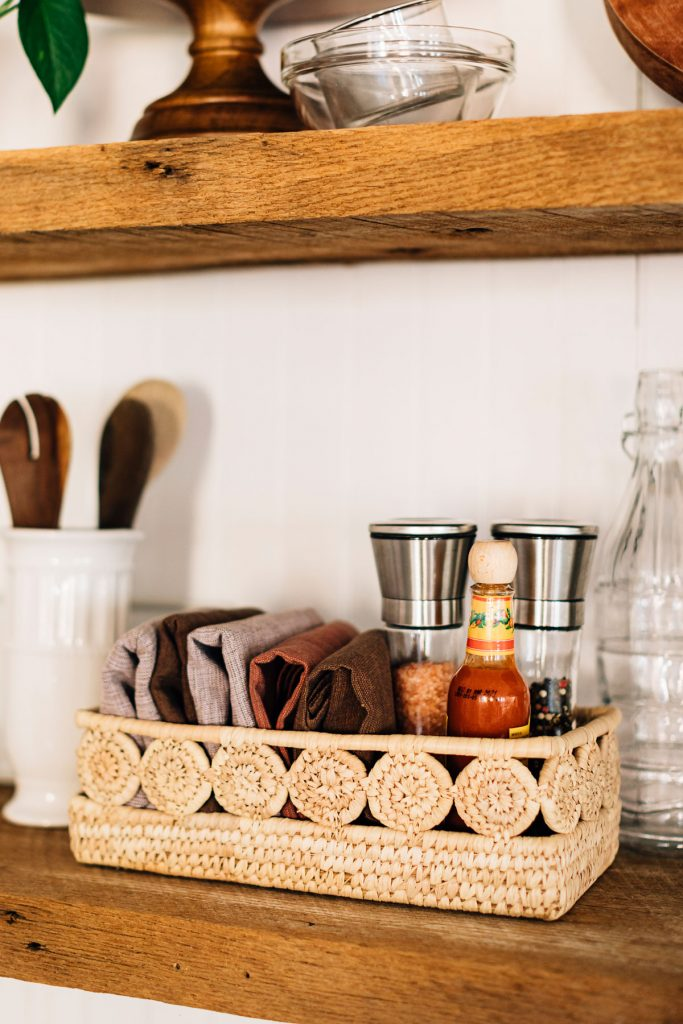 Organize with fair trade baskets | Palm Medallion Bread Basket