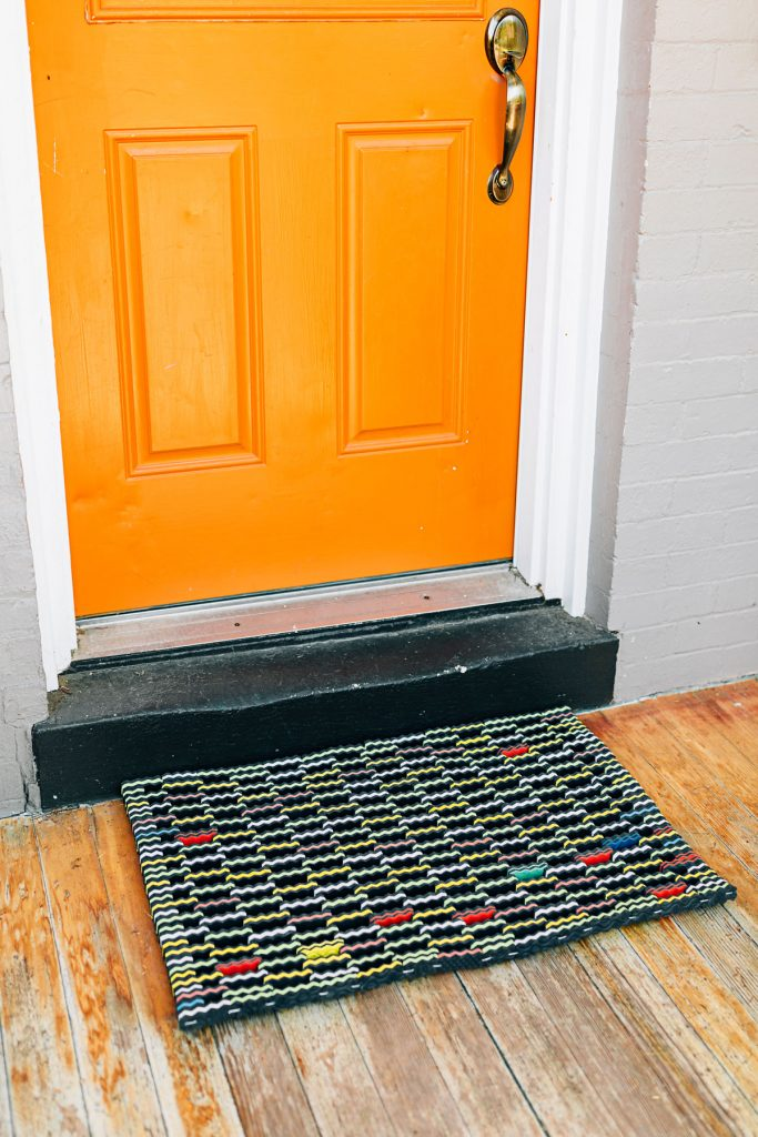 Welcome mat made from upcycled flip flops