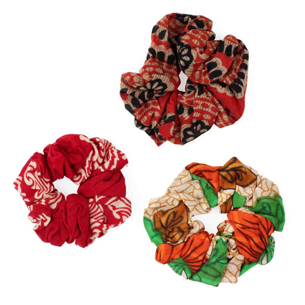 Ethical Stocking Stuffers   Scrunchies made from repurposed sari fabric, handcrafted in Bangladesh by women working with Prokritee.