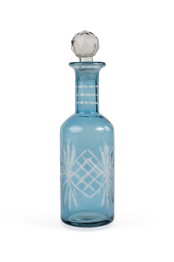 Blue Etched Glass Bottle