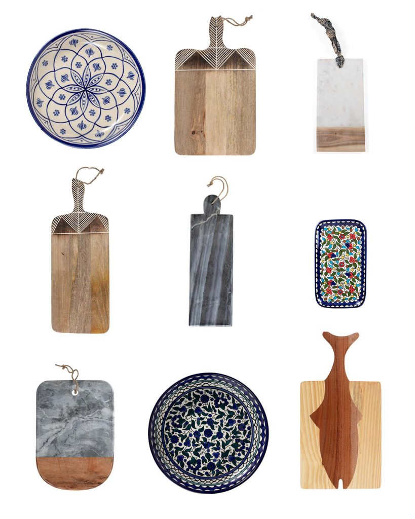 Grid of epic charcuterie boards and platters to choose from. All are handmade by Ten Thousand Villages' fair trade partners.