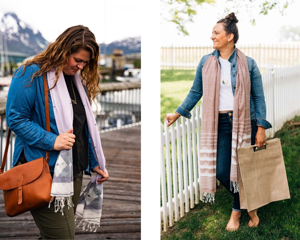 These two images show two different models wearing two different Jamdani woven scarfs from Ten Thousand Villages. One is the Jamdani Weave Scarf, the other is the Jamdani Weave Brown Scarf.